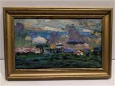 1911 William Zorach Village Landscape Oil Painting