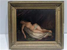 Art Deco Reclining Nude Oil on Board Painting