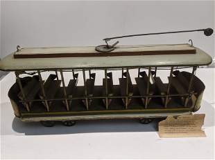 Antique Custom Large Scale Open Trolley Car