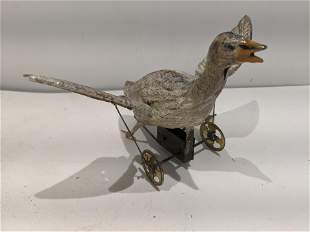 c1915 German Painted Tin Wind Up Flapping Goose