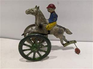 c1925 Hand Painted Tin German Wind-Up Horse Jockey