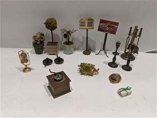 Lot 15 Dollhouse Miniature Clock Plants Envelopes etc