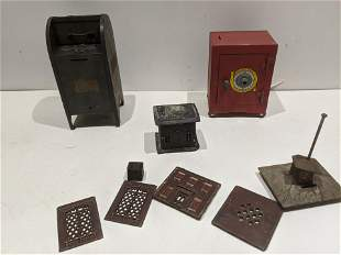 Lot 4 Antique Still Banks Magic Safe Cast Iron etc