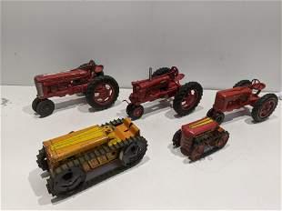 Lot 5 Vintage Toy Farm Tractors