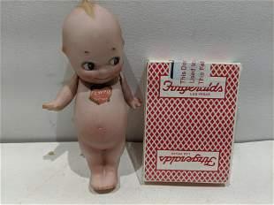Vintage German Porcelain Kewpie Doll w/ Jointed Arms