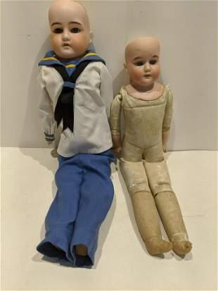 Pair Old German Bisque Dolls Majestic etc