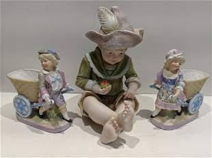Lot 3 German Porcelain Boy & Girl Figures