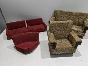Lot Vintage Doll Large Upholstered Couches