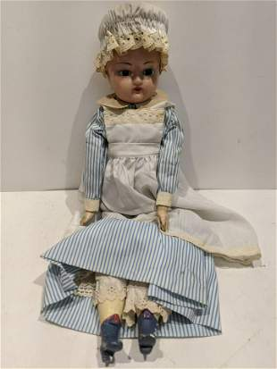 Antique Wax over Paper Mache & composition Doll