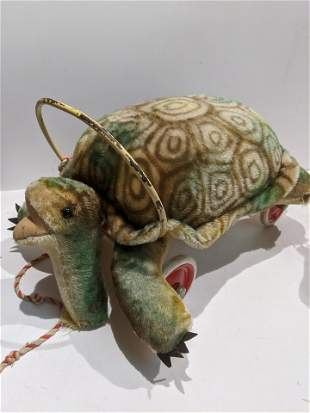1950's Steiff Mohair Ride On Large Turtle