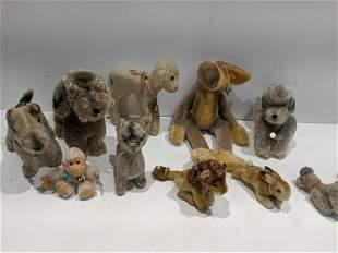 Lot 11 1950's Stuffed Animals Steiff Teddy Herman etc