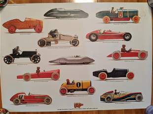 Vintage Swedish Pucko Drink Toy Race Cars Poster