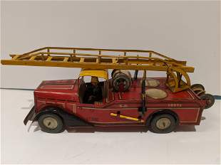 1951 Joustra French Tin Litho Fire Truck