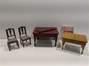 c1900 Gottschalk Germany Red Dollhouse Dining Tables