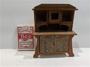 c1900 Art Nouveau German Wood Dollhouse Cabinet