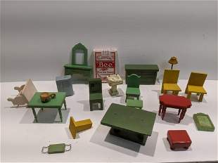 Lot 1930's Painted Wood Dollhouse Furniture