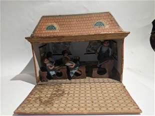 c1900 French Doll Schoolhouse w/ Bisque Dolls