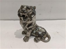 Antique Nickel Plated Tiger Figural Inkwell