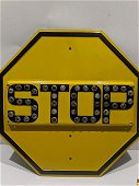 1930's Yellow Jeweled Cat Eye Reflector Stop Sign