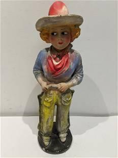 c1940's Cowgirl Carnival Chalkware Figure