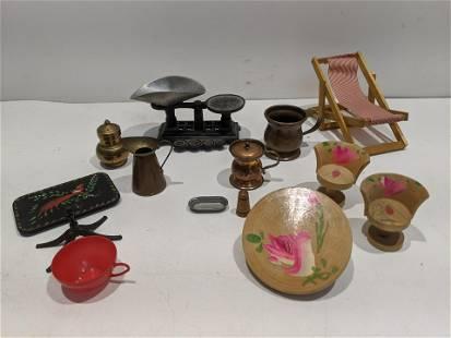 Lot 13 Vintage Miniature Doll House Items
