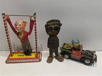 Lot 3 Old Tin Litho John's Farm Car Toe Joe Clown etc