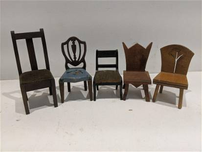 Lot 5 Wooden Dollhouse Miniature Assorted Chairs