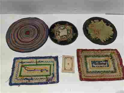 Lot 6 Vintage Dollhouse Miniature Rugs