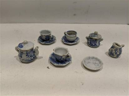 11 Pieces Blue Willow Dollhouse Miniature Dishes