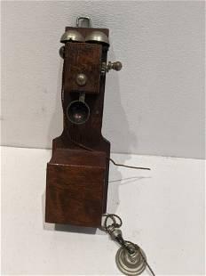 Antique Wood Wall Dollhouse Miniature Telephone