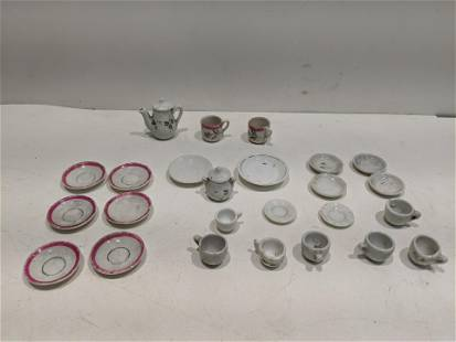 Lot 25 Japanese Bisque Dollhouse Miniature Dishes