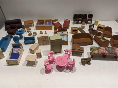 Large Lot Vintage Wooden Dollhouse Furniture