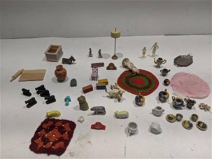 Lot Vintage Assorted Dollhouse Miniatures & Accessories