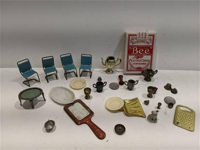 Large Lot Dollhouse Miniatures Chairs Cups Mirror etc