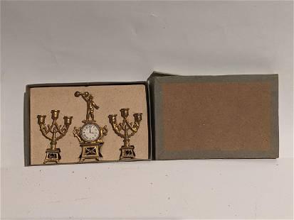c1900 French Ormolu France Clock Mantel Set in Box