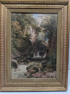 1858 John Henry Mole Watercolor Painting of River
