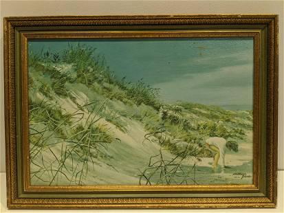 Carolyn Blish Child Playing on Beach Oil Painting