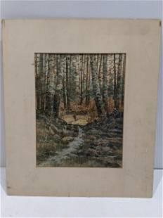 William Schmedtgen Forest Stream Watercolor Painting