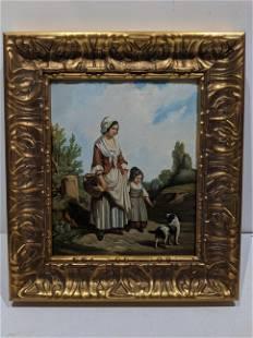 Antique Dutch Mom Child & Dog Oil Painting