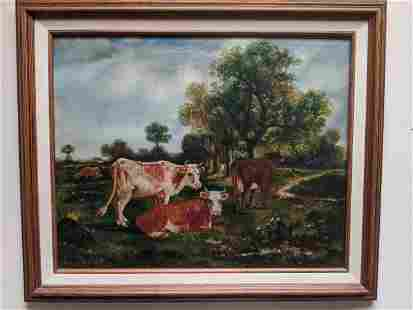1913 James McAuliffe Cows in Field Oil Painting