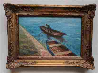 Unknown Artist Men in Rowboat Oil Painting