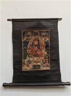 Antique Mongolian Thangka Scroll Painting