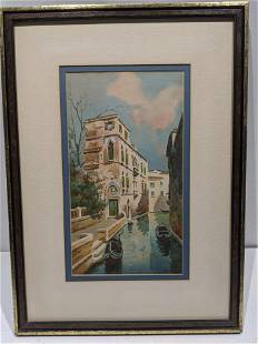 Signed Rossi Venice Canal Watercolor Painting