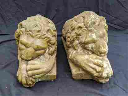 Pair Cement Lazy Lions Sculpture Statuary