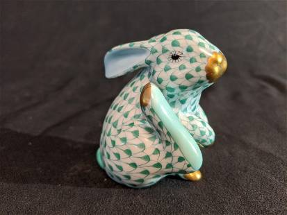 Herend Green & White Rabbit Figurine