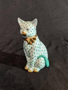 Herend Green & White Cat Figurine