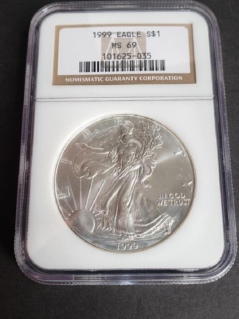 1999 American Silver Eagle NGC MS69