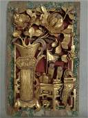 Antique Chinese Carved Wood Scholar's Table Panel