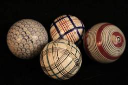 Four Antique Victorian Scottish Carpet Balls