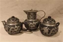 Antique Chinese Pewter Yixing Pottery Tea Set